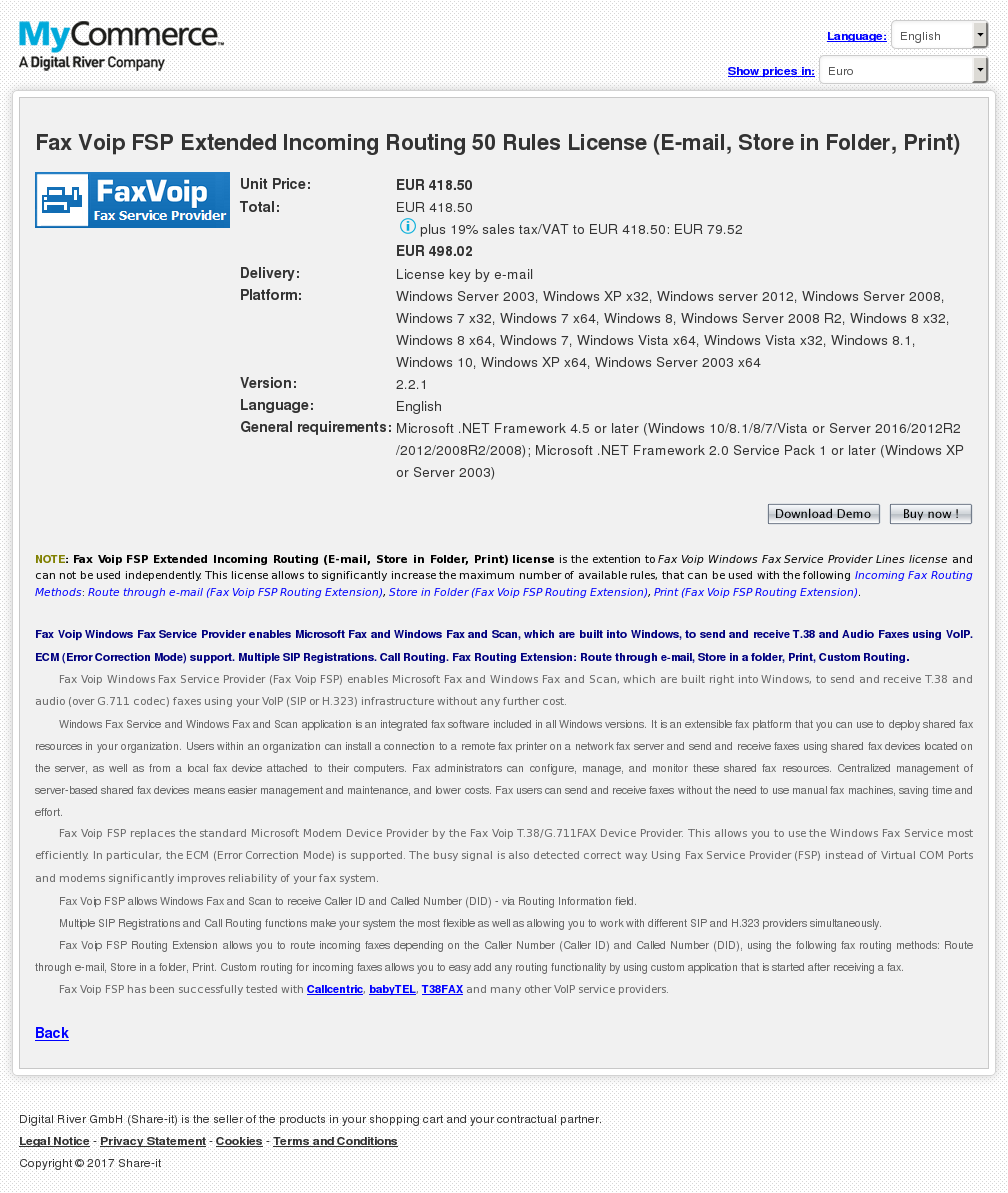 Fax Voip FSP Extended Incoming Routing 50 Rules License (E-mail, Store in Folder, Print)