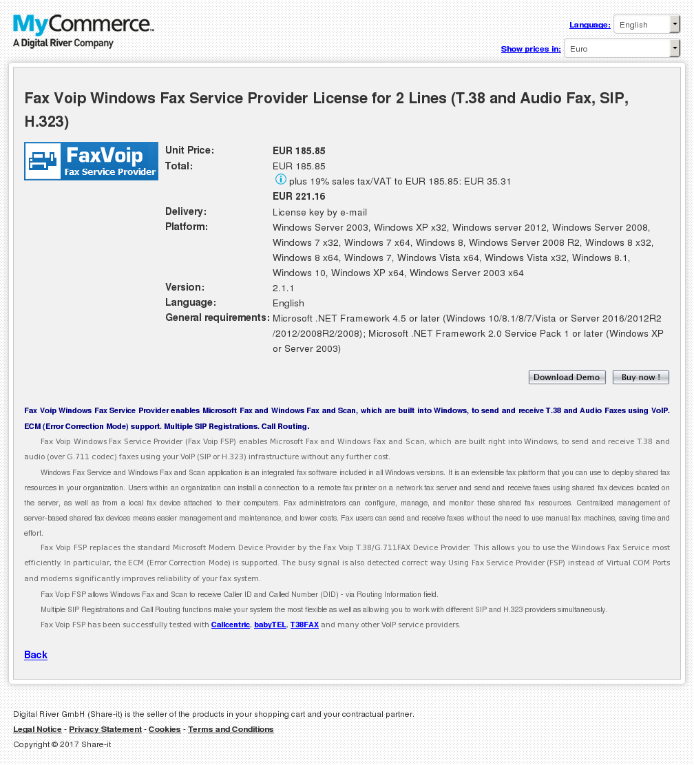Fax Voip Windows Fax Service Provider License for 2 Lines (T.38 and Audio Fax, SIP, H.323)