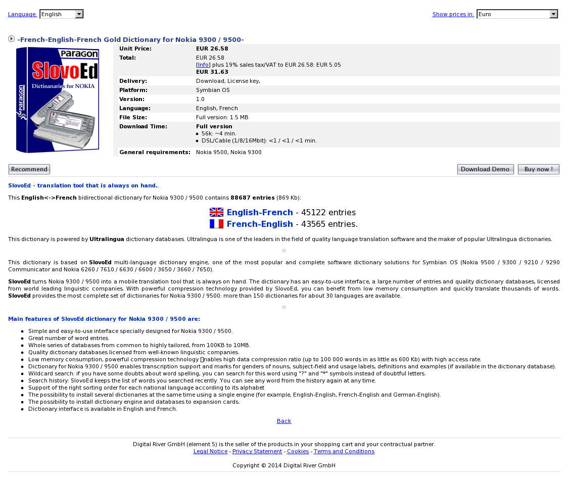 -French-English-French Gold Dictionary for Nokia 9300 / 9500-