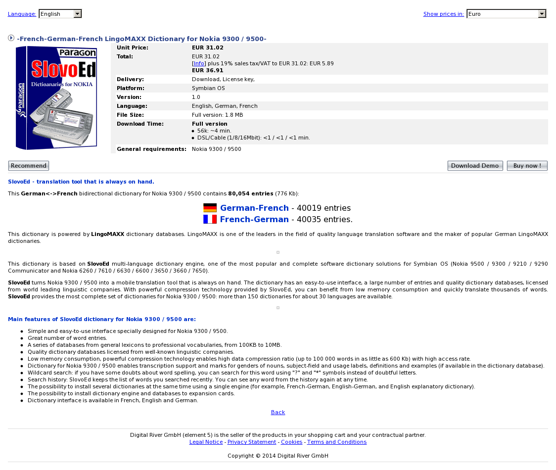 -French-German-French LingoMAXX Dictionary for Nokia 9300 / 9500-
