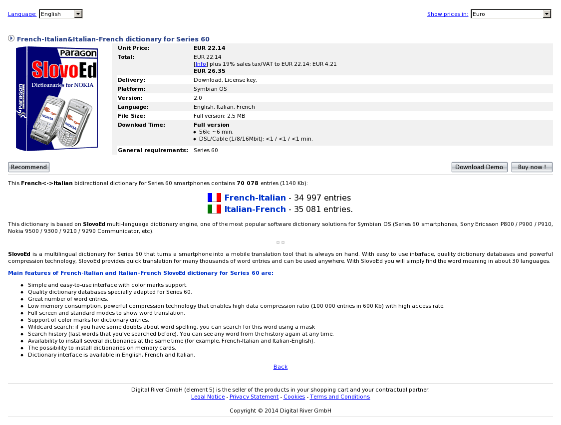 French-Italian&Italian-French dictionary for Series 60