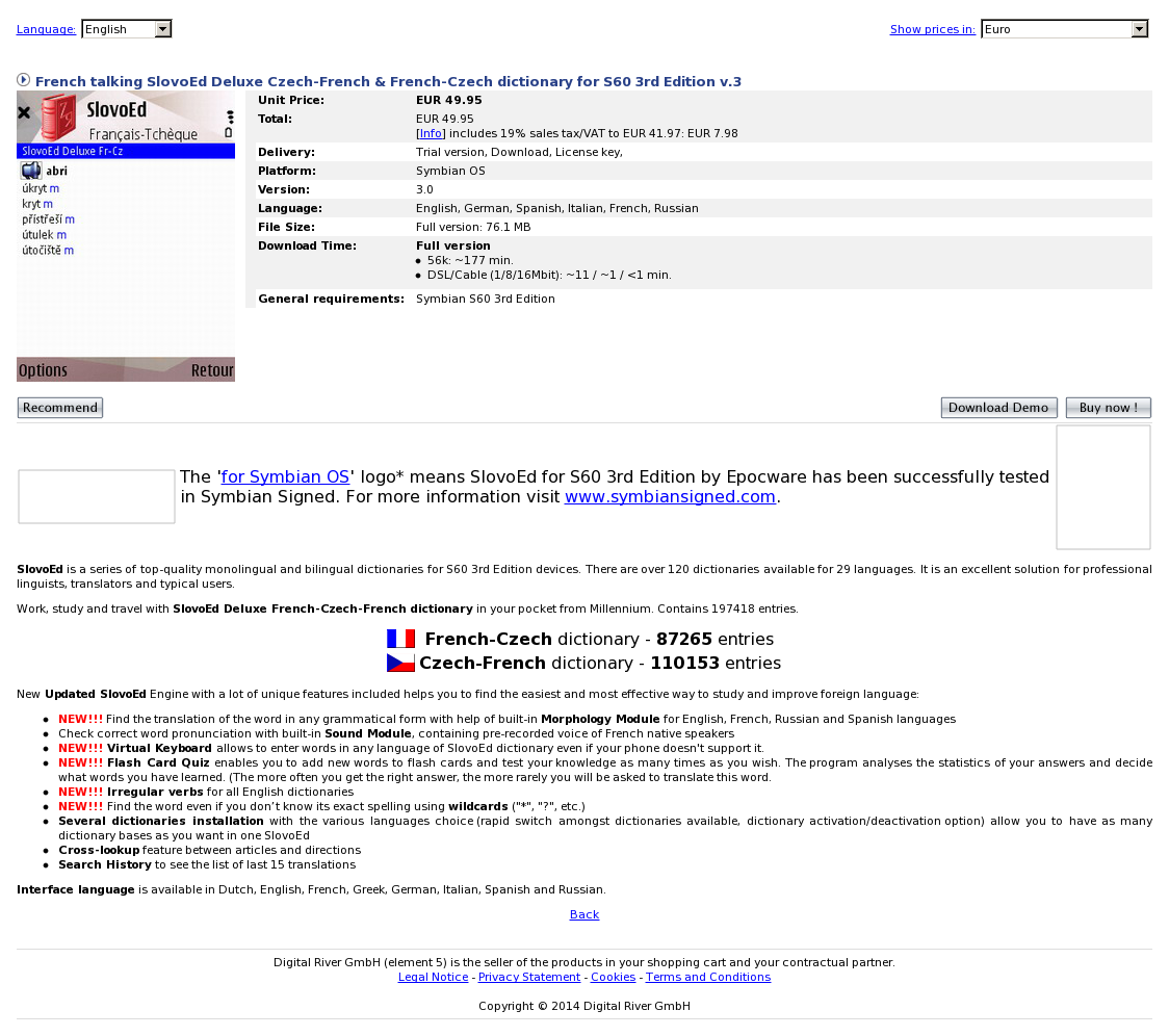 French talking SlovoEd Deluxe Czech-French & French-Czech dictionary for S60 3rd Edition v.3