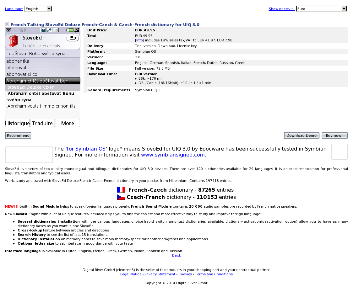 French Talking SlovoEd Deluxe French-Czech & Czech-French dictionary for UIQ 3.0