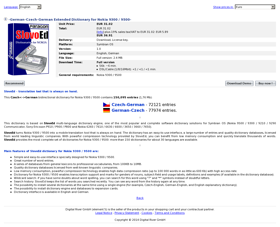 -German-Czech-German Extended Dictionary for Nokia 9300 / 9500-