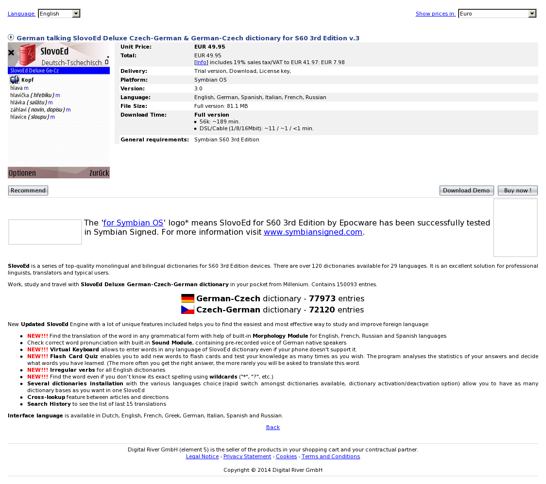 German talking SlovoEd Deluxe Czech-German & German-Czech dictionary for S60 3rd Edition v.3