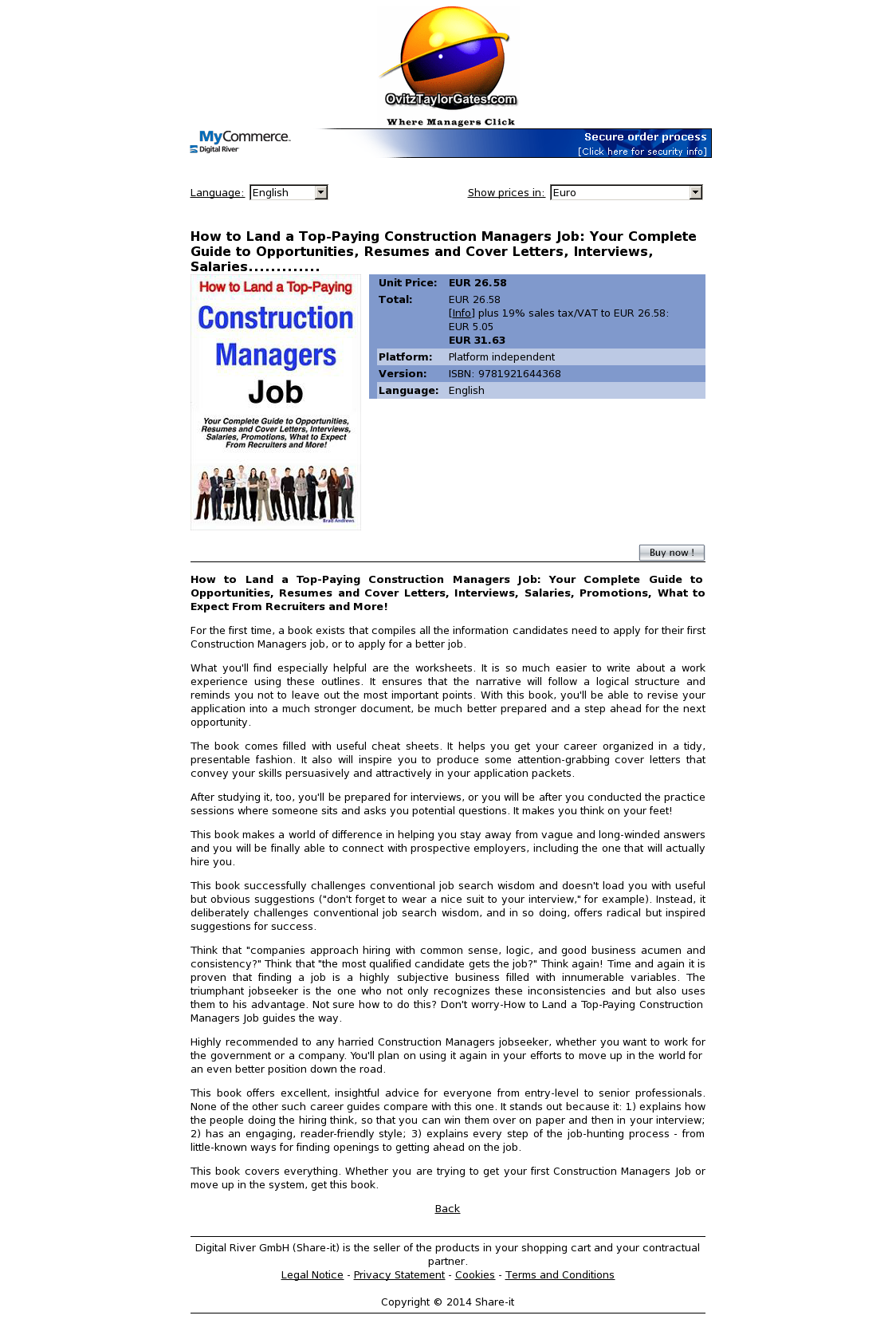 How to Land a Top-Paying Construction Managers Job: Your Complete Guide to Opportunities, Resumes and Cover Letters, Interviews, Salaries.............