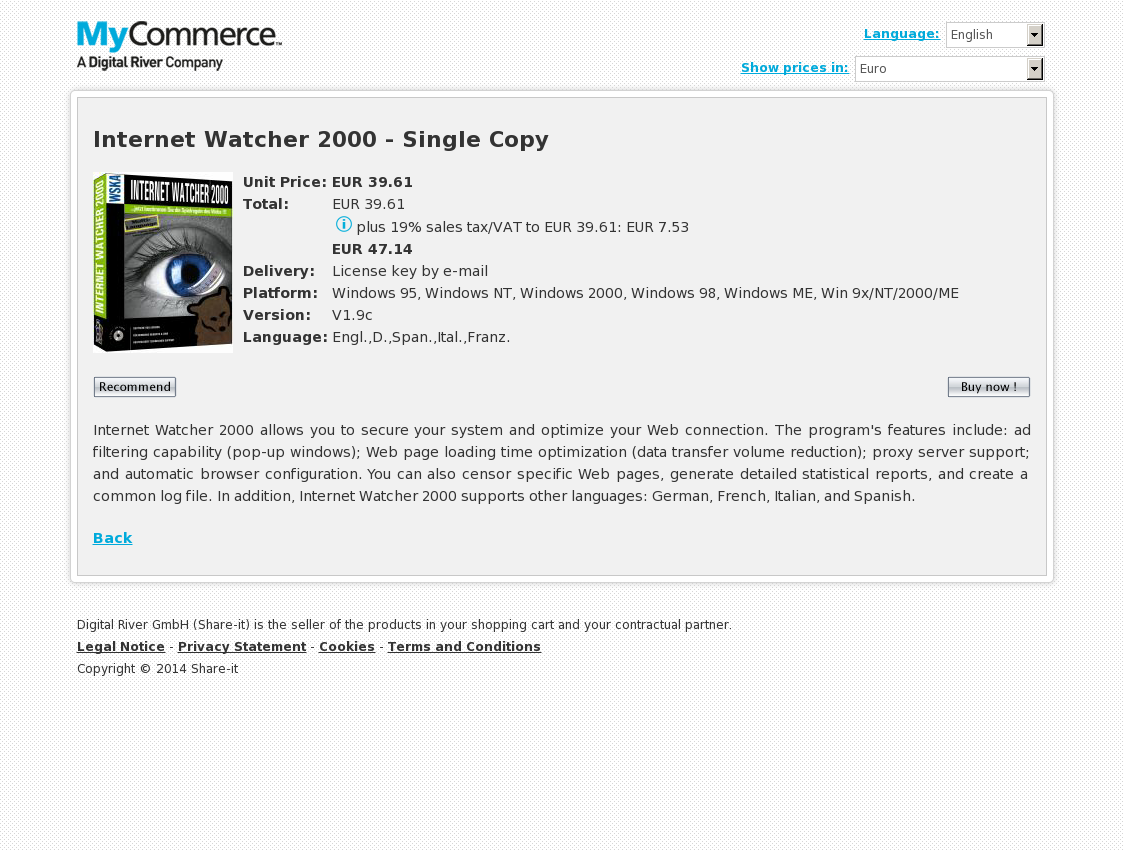 Internet Watcher 2000 - Single Copy