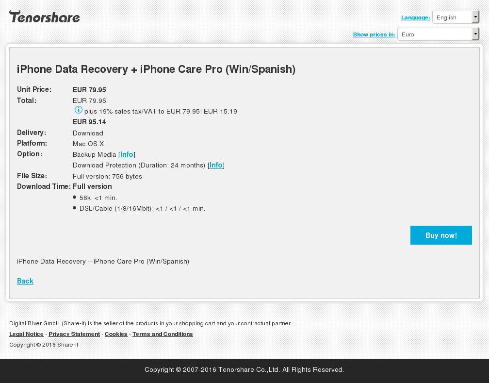 iPhone Data Recovery + iPhone Care Pro (Win/Spanish)