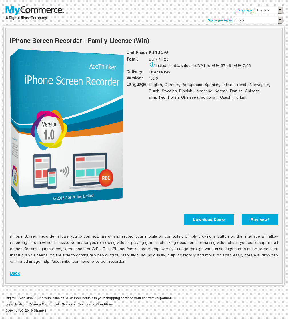 iPhone Screen Recorder - Family License (Win)
