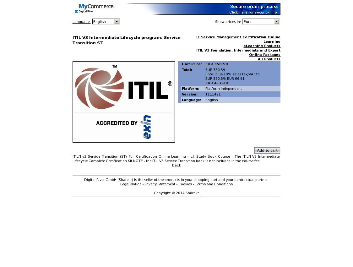 ITIL V3 Intermediate Lifecycle program: Service Transition ST