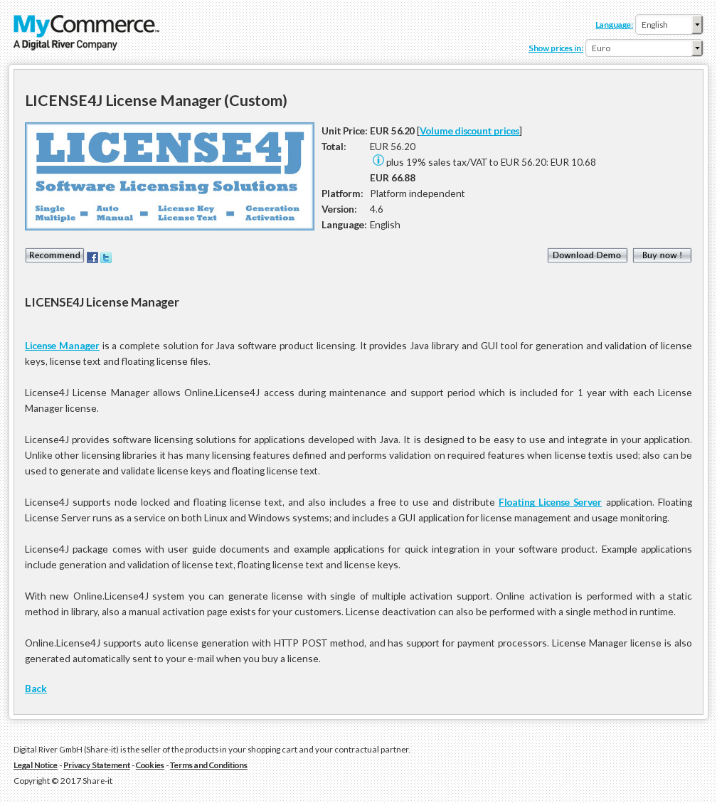 LICENSE4J License Manager (Custom)