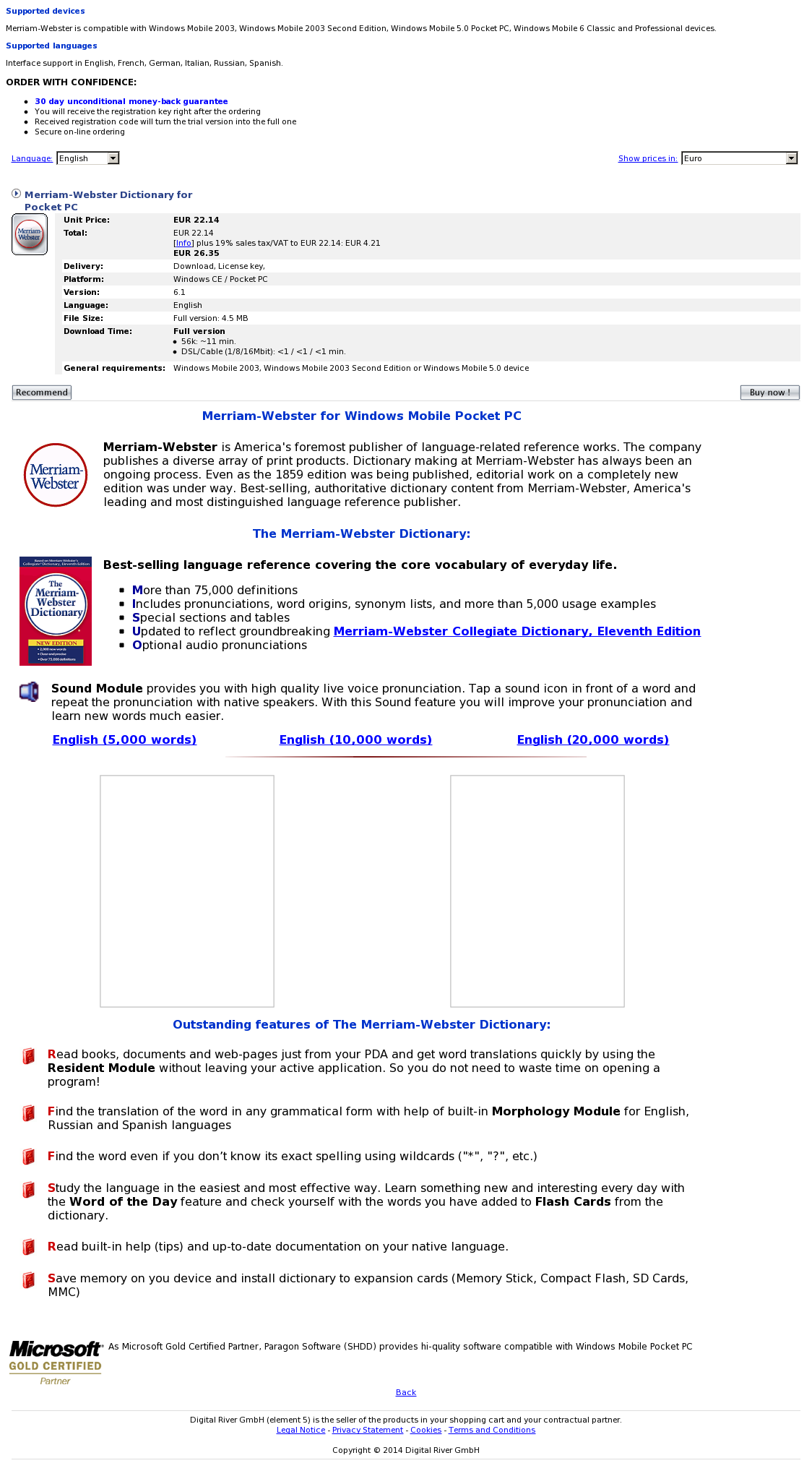 Merriam-Webster Dictionary for Pocket PC