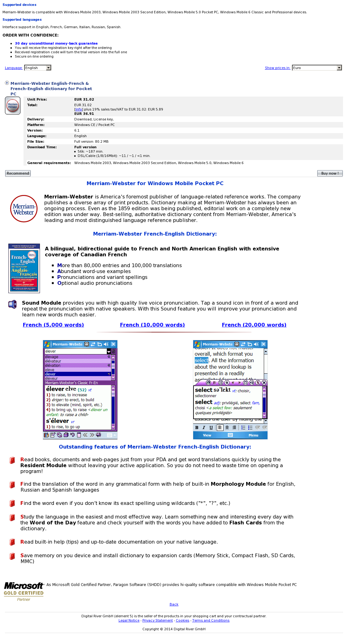 Merriam-Webster English-French & French-English dictionary for Pocket PC