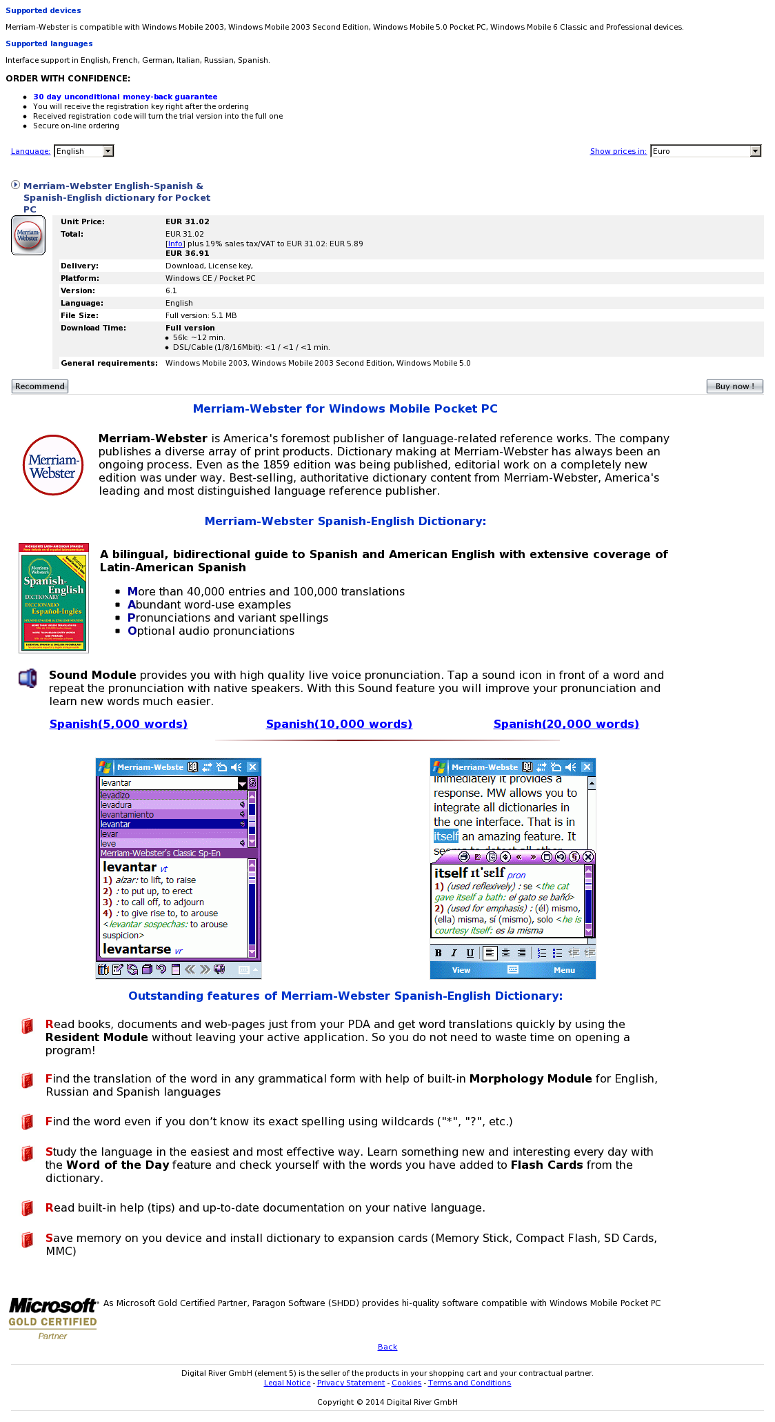 Merriam-Webster English-Spanish & Spanish-English dictionary for Pocket PC
