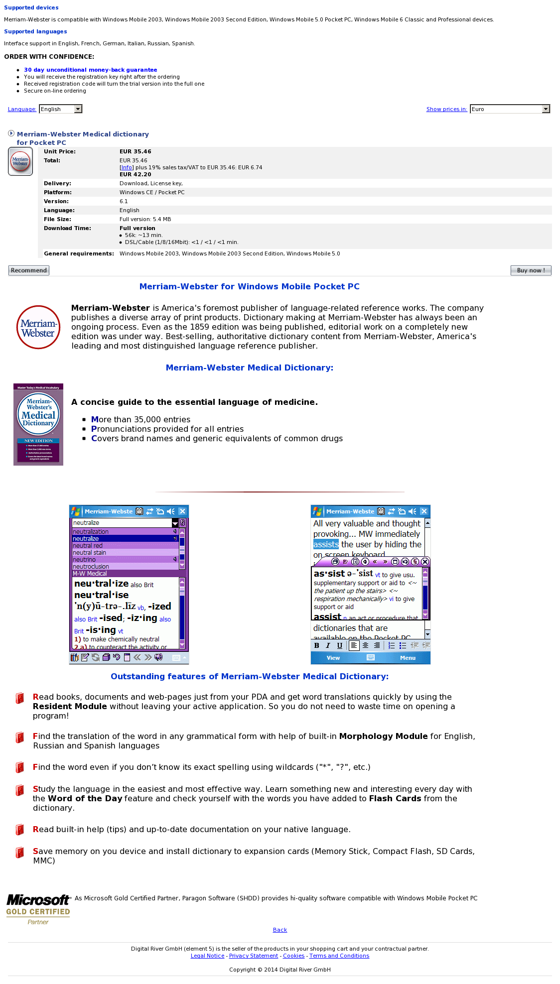 Merriam-Webster Medical dictionary for Pocket PC