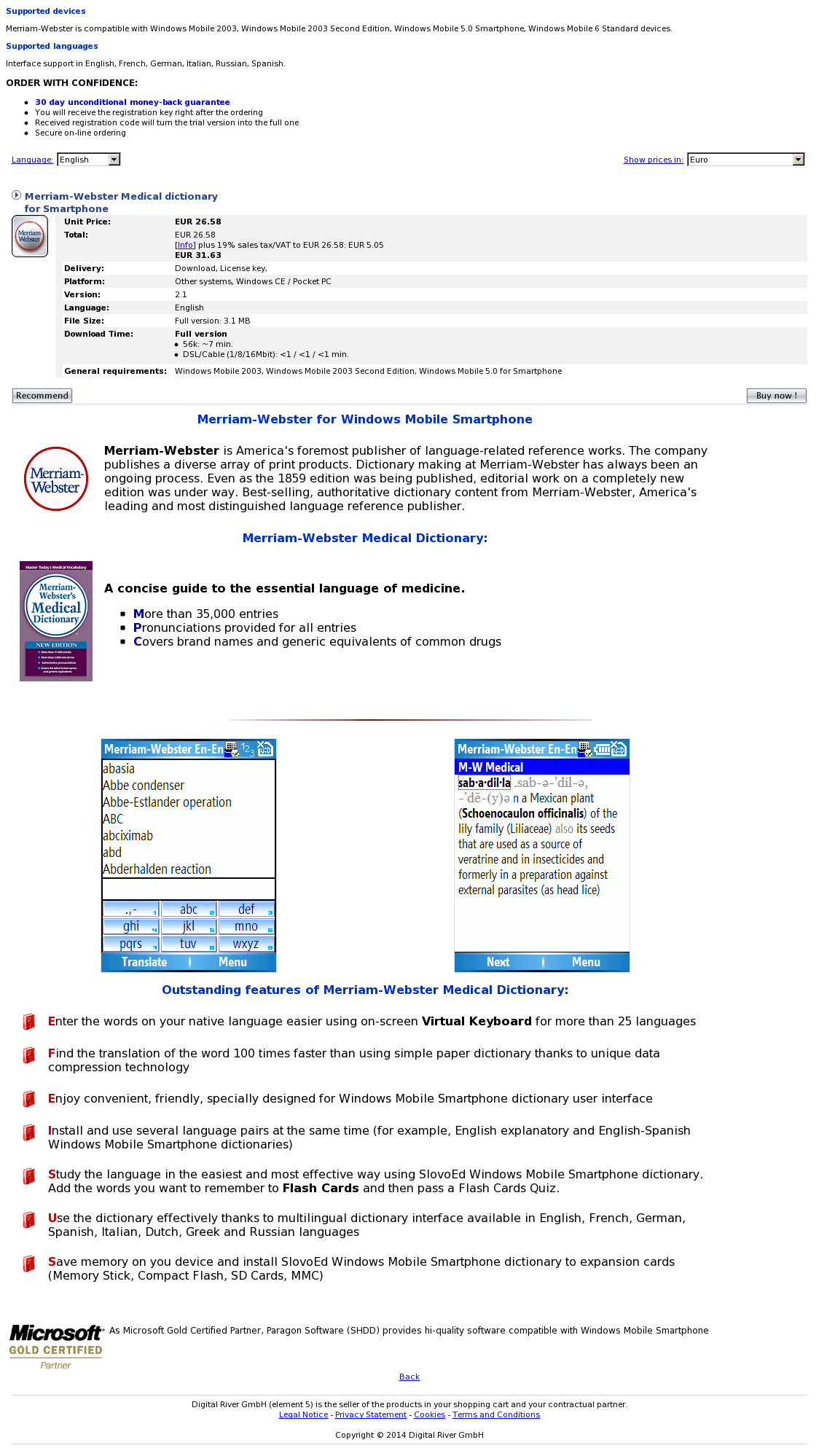 Merriam-Webster Medical dictionary for Smartphone