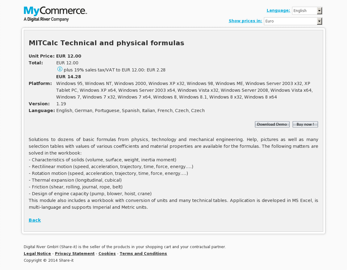 MITCalc Technical and physical formulas