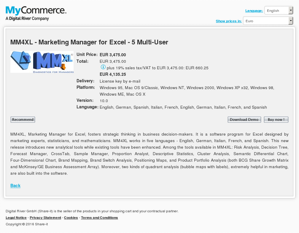 MM4XL - Marketing Manager for Excel - 5 Multi-User