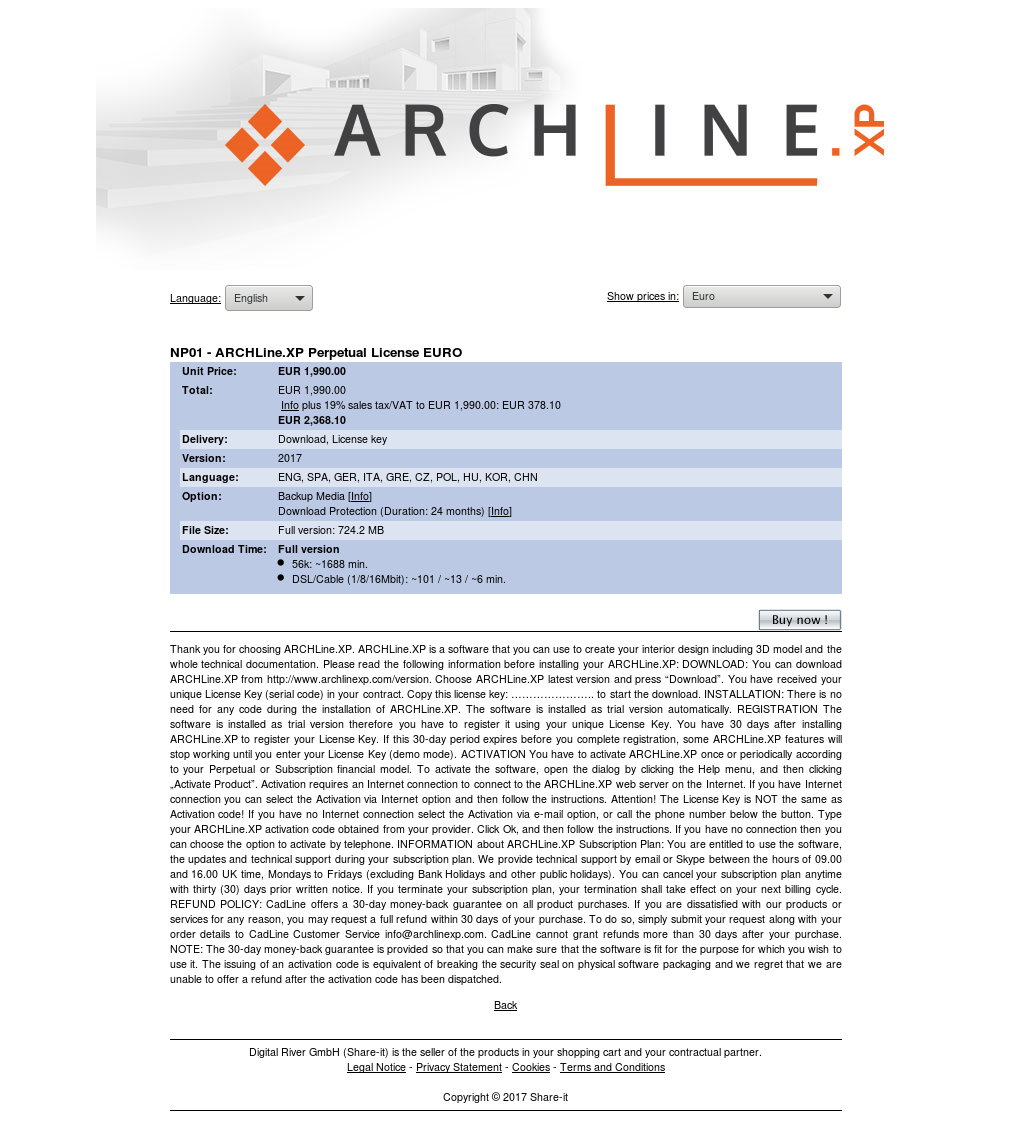 NP01 - ARCHLine.XP Perpetual License EURO