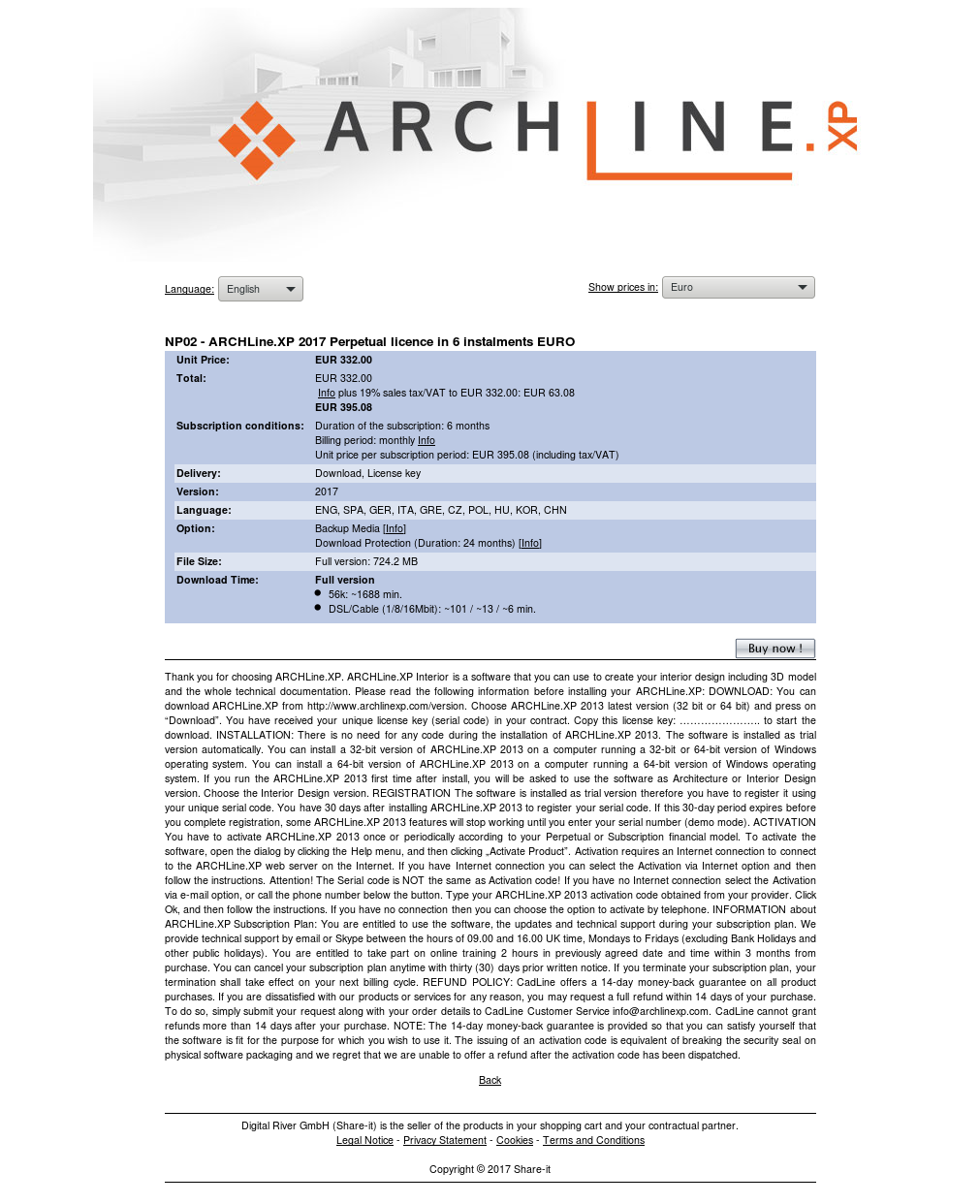NP02 - ARCHLine.XP 2017 Perpetual licence in 6 instalments EURO