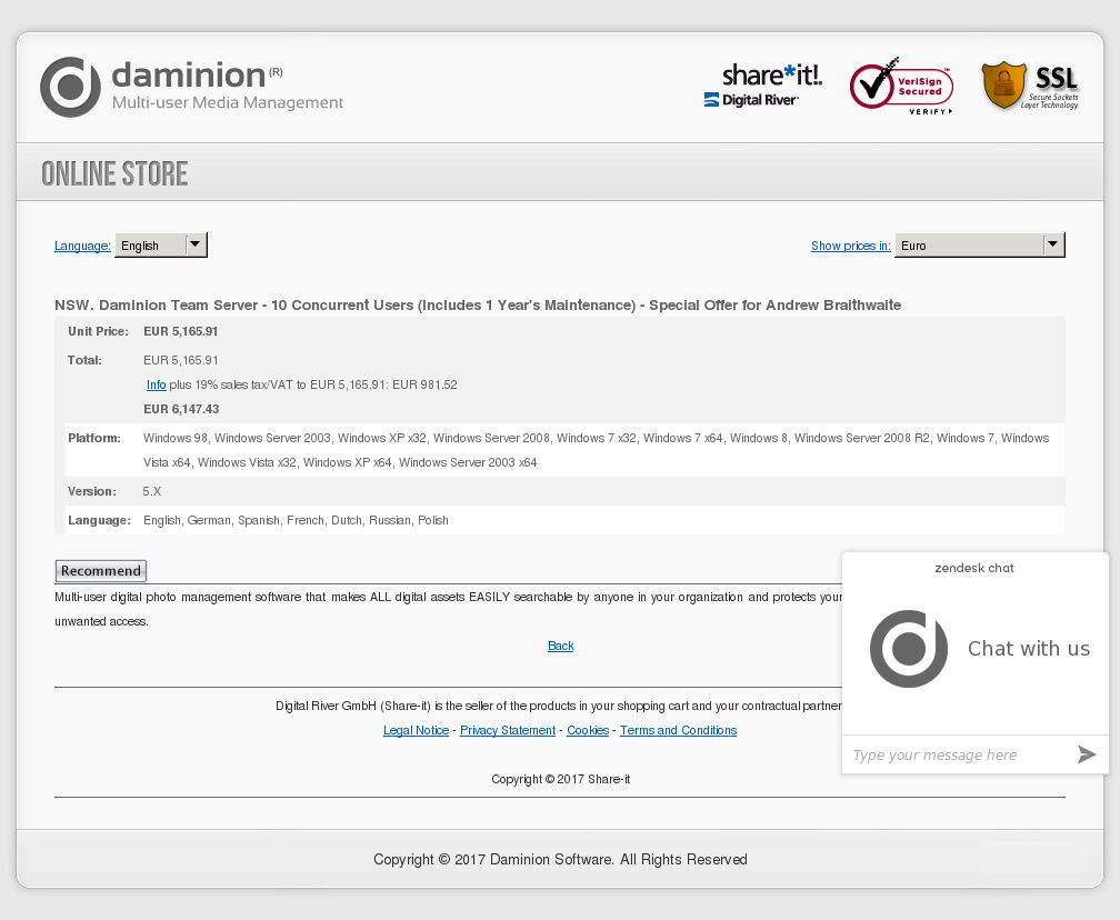 NSW. Daminion Team Server - 10 Concurrent Users (Includes 1 Year's Maintenance) - Special Offer for Andrew Braithwaite