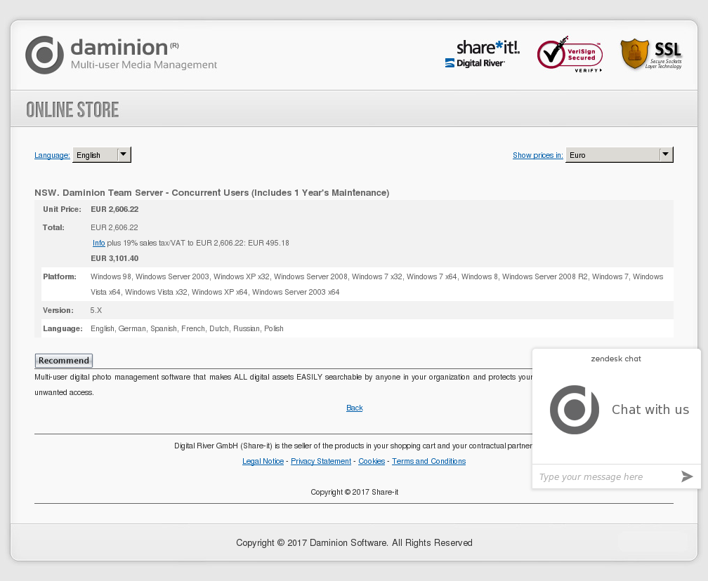 NSW. Daminion Team Server - Concurrent Users (Includes 1 Year's Maintenance)