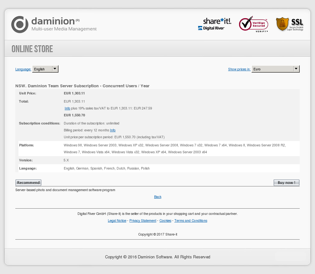 NSW. Daminion Team Server Subscription - Concurrent Users / Year