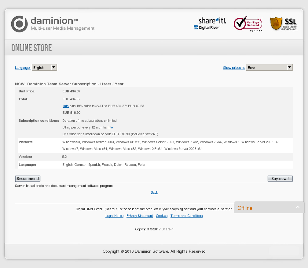 NSW. Daminion Team Server Subscription - Users / Year