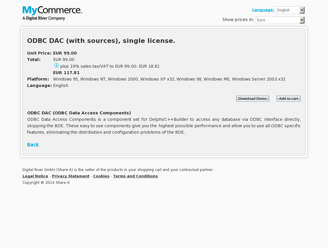 ODBC DAC (with sources), single license.