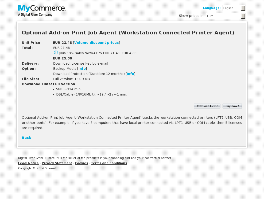 Optional Add-on Print Job Agent (Workstation Connected Printer Agent)