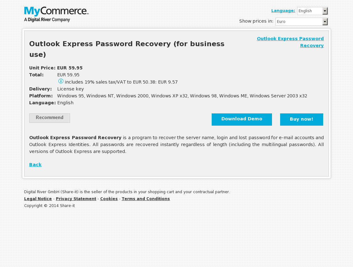 Outlook Express Password Recovery (for business use)