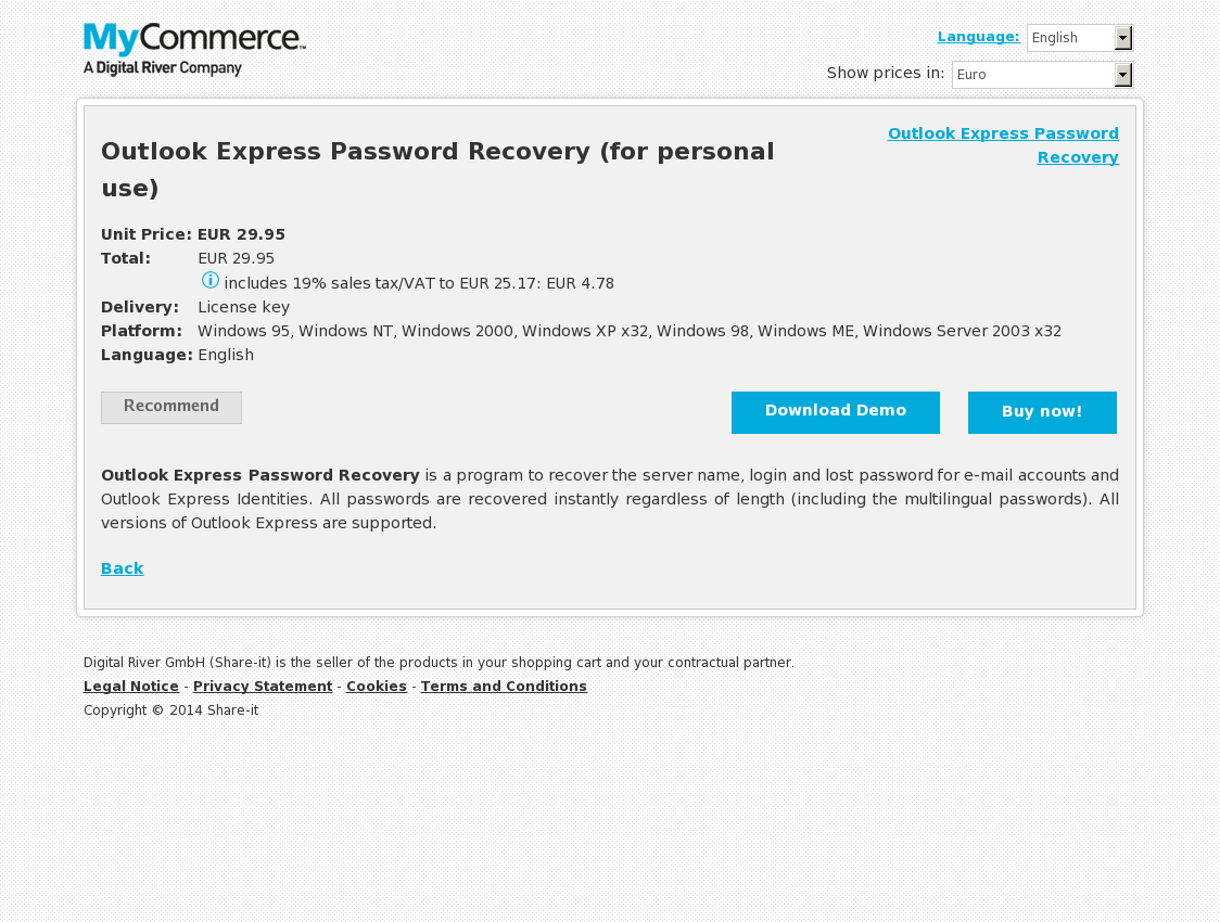 Outlook Express Password Recovery (for personal use)