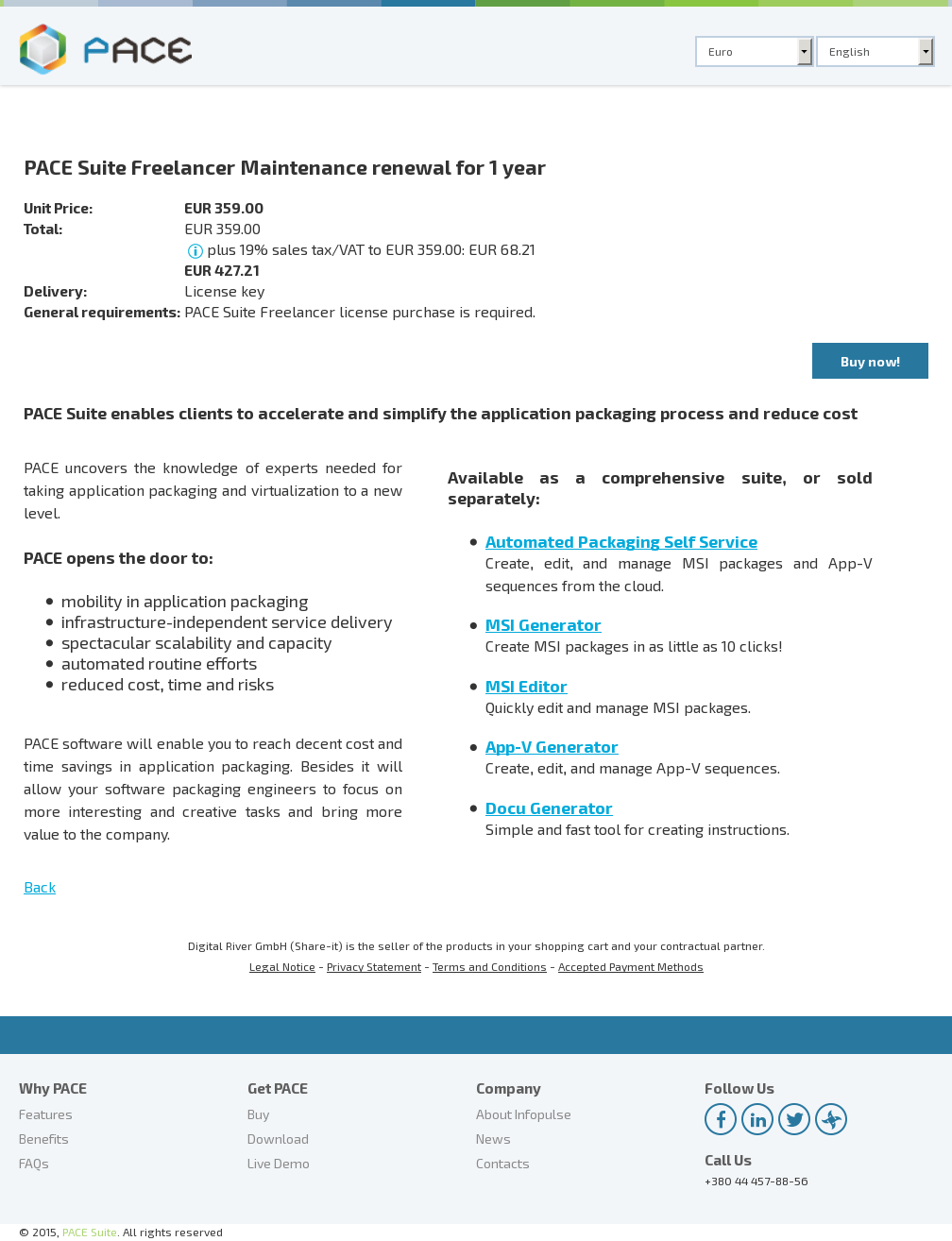 PACE Suite Freelancer Maintenance renewal for 1 year