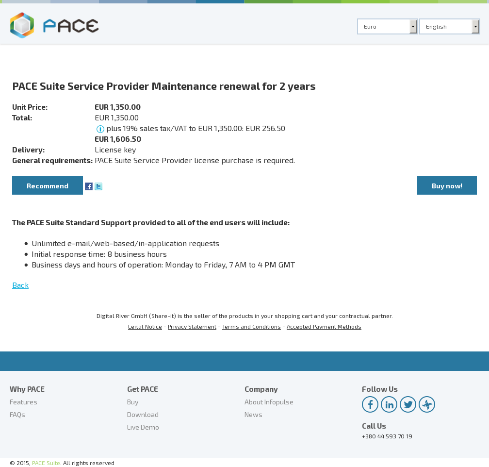 PACE Suite Service Provider Maintenance renewal for 2 years