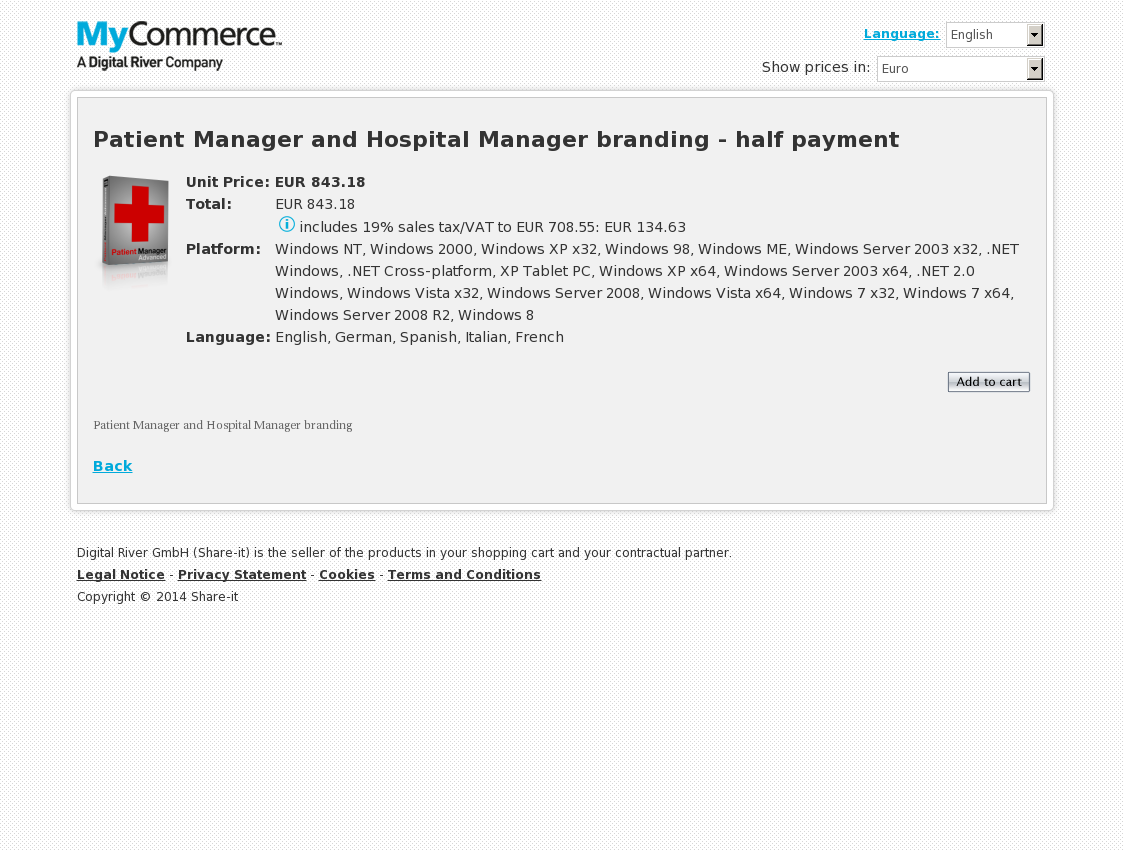 Patient Manager and Hospital Manager branding - half payment