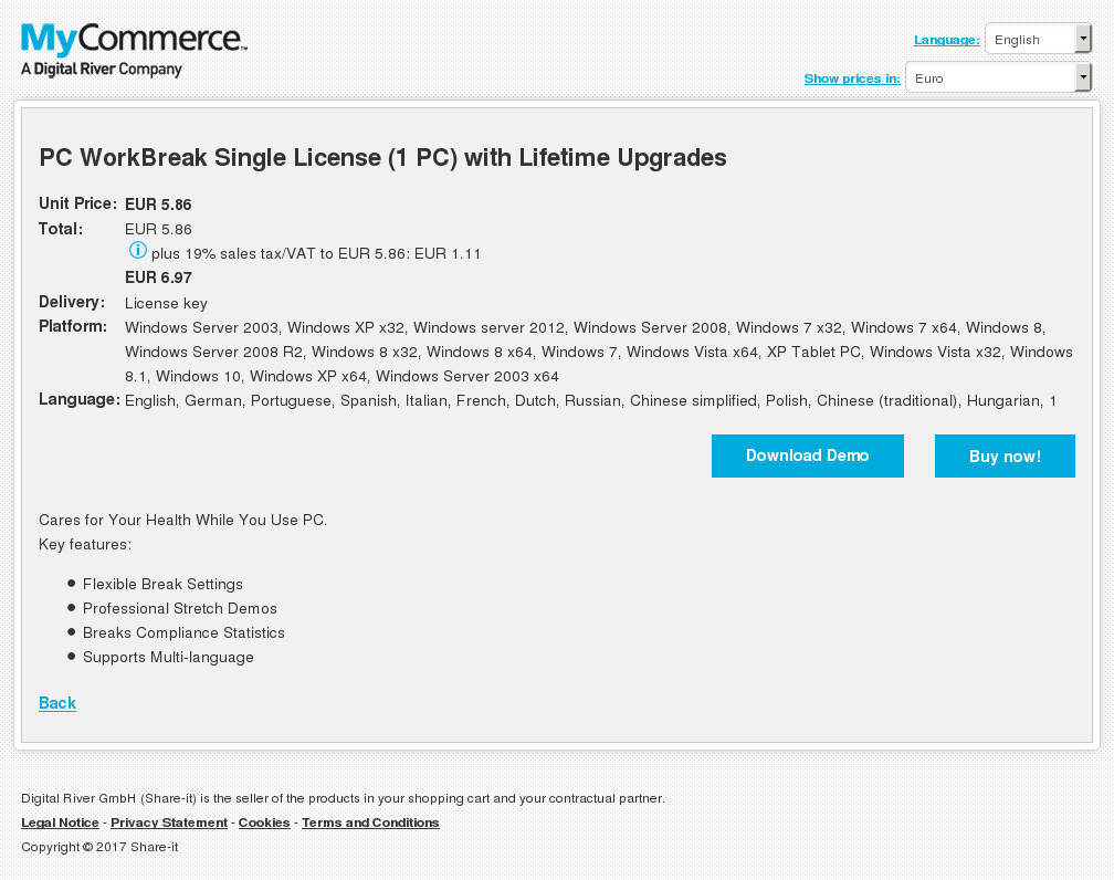 PC WorkBreak Single License (1 PC) with Lifetime Upgrades