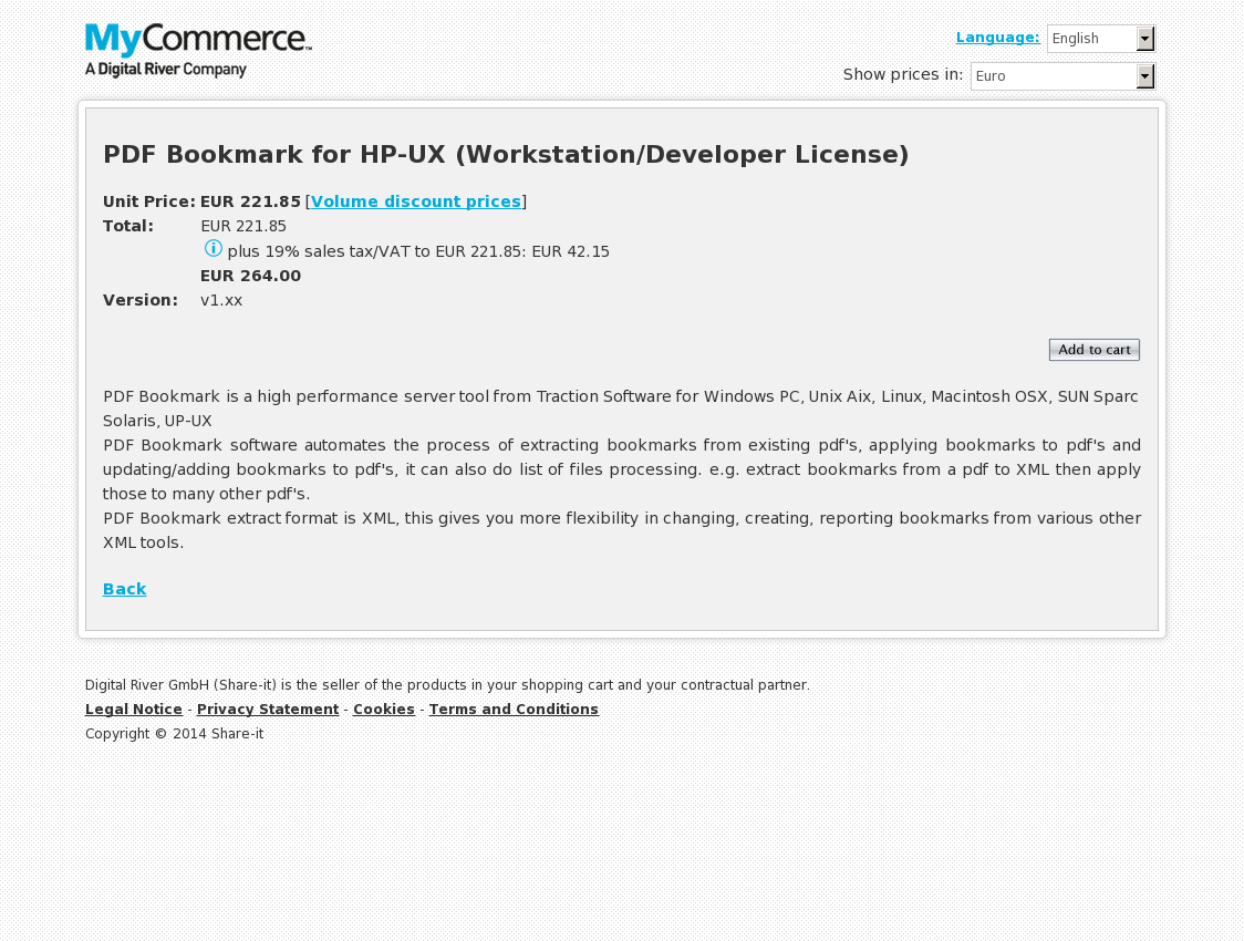 PDF Bookmark for HP-UX (Workstation/Developer License)