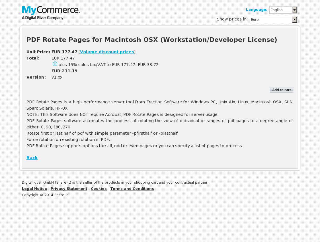 PDF Rotate Pages for Macintosh OSX (Workstation/Developer License)