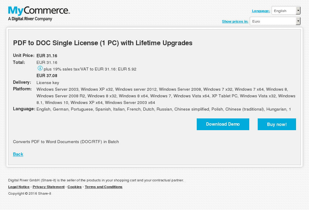 PDF to DOC Single License (1 PC) with Lifetime Upgrades