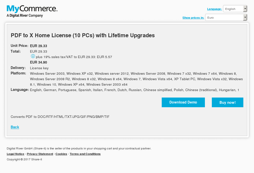 PDF to X Home License (10 PCs) with Lifetime Upgrades