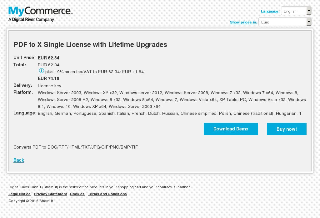 PDF to X Single License with Lifetime Upgrades