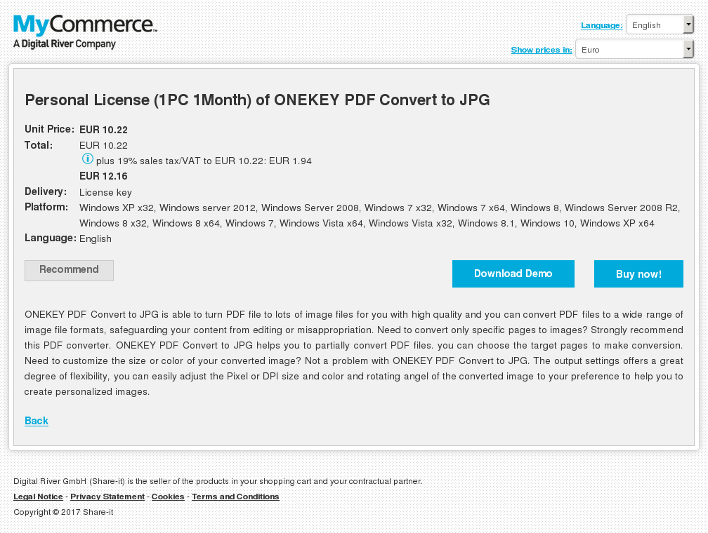 Personal License (1PC 1Month) of ONEKEY PDF Convert to JPG