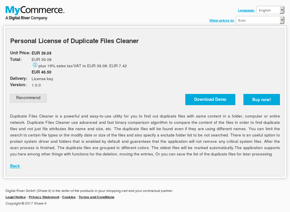 Personal License of Duplicate Files Cleaner