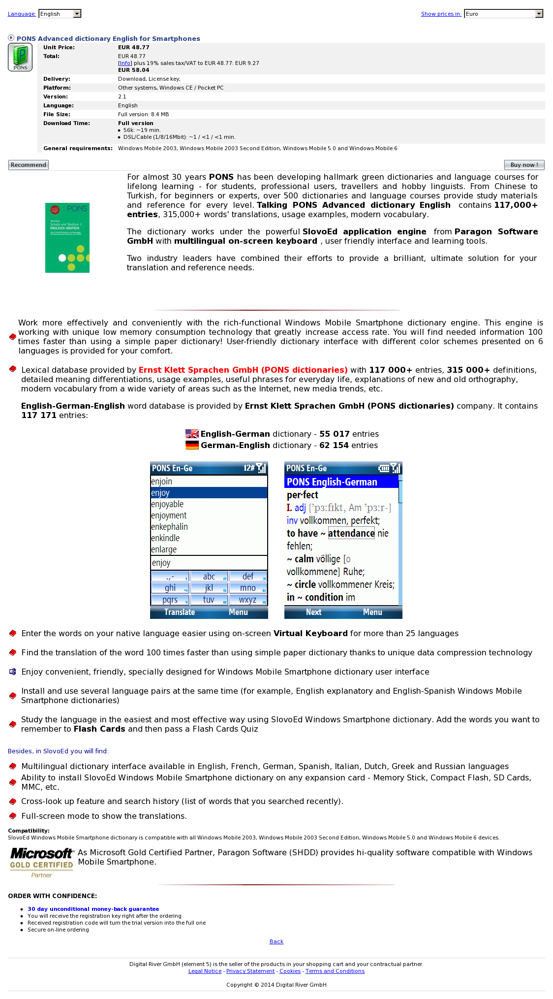PONS Advanced dictionary English for Smartphones