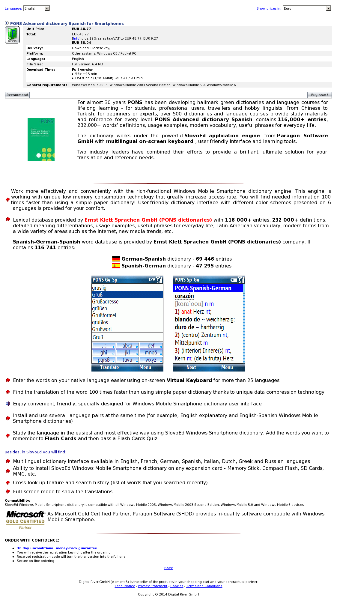 PONS Advanced dictionary Spanish for Smartphones
