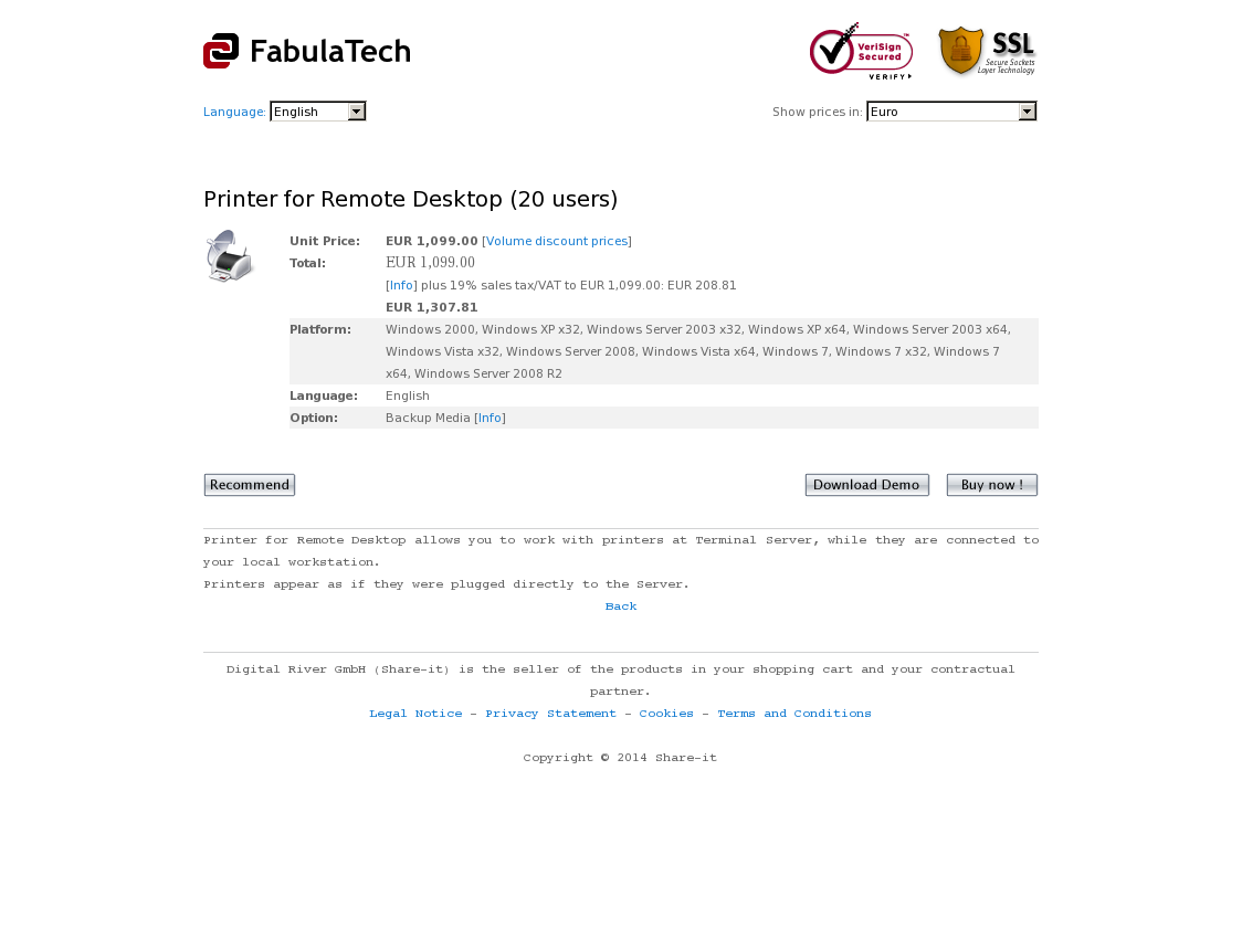 Printer for Remote Desktop (20 users)