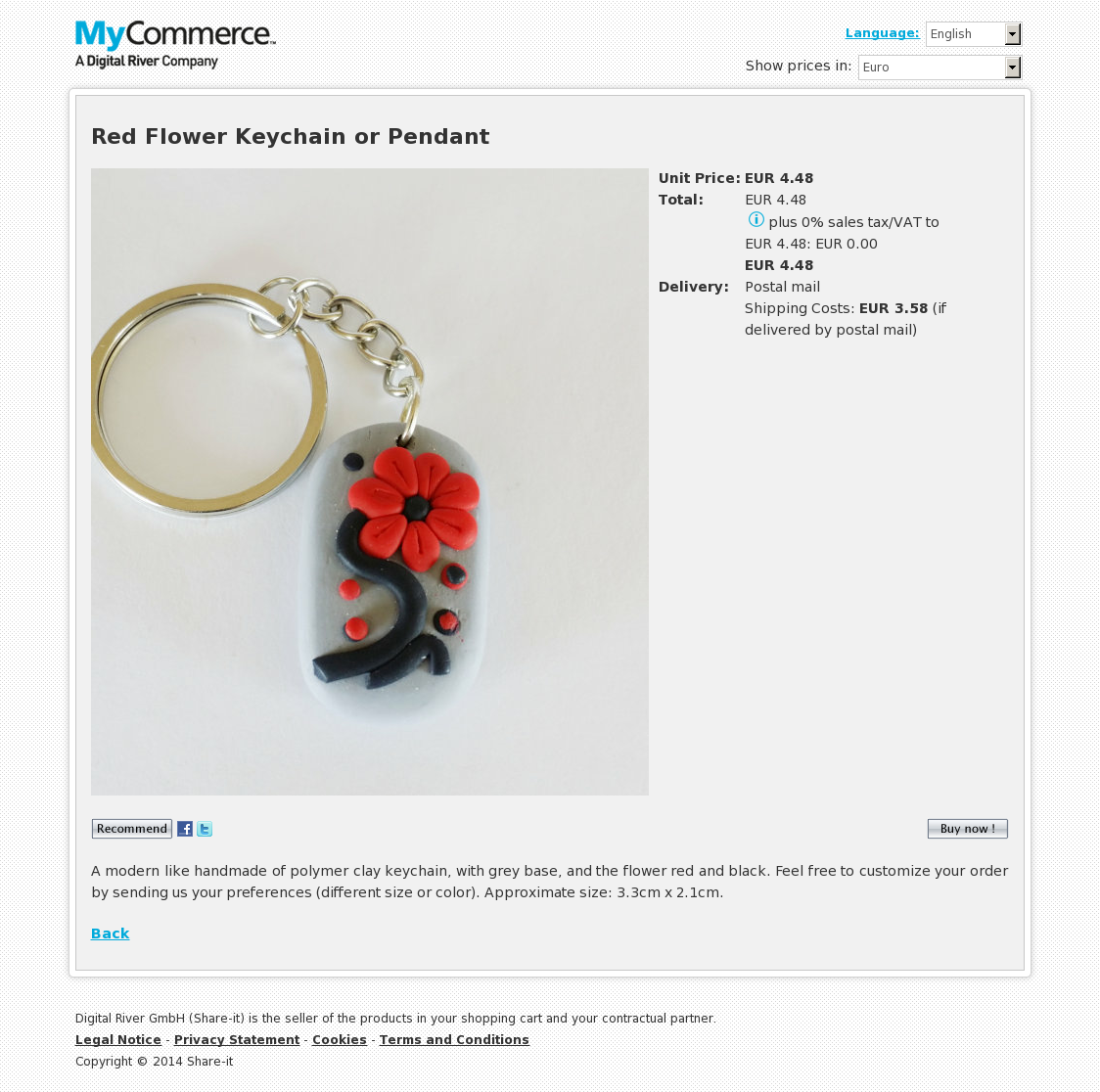 Red Flower Keychain or Pendant