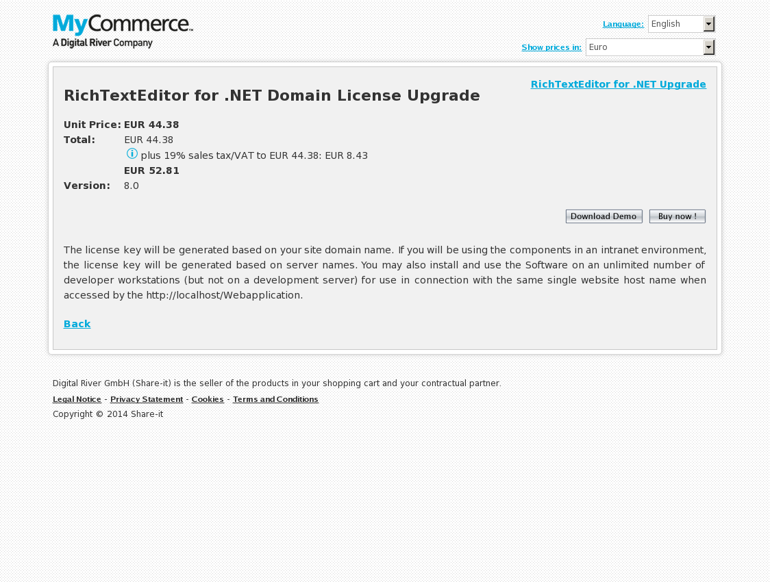 RichTextEditor for .NET Domain License Upgrade
