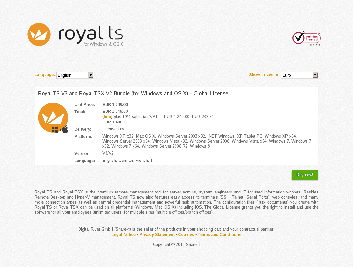 Royal TS V3 and Royal TSX V2 Bundle (for Windows and OS X) - Global License