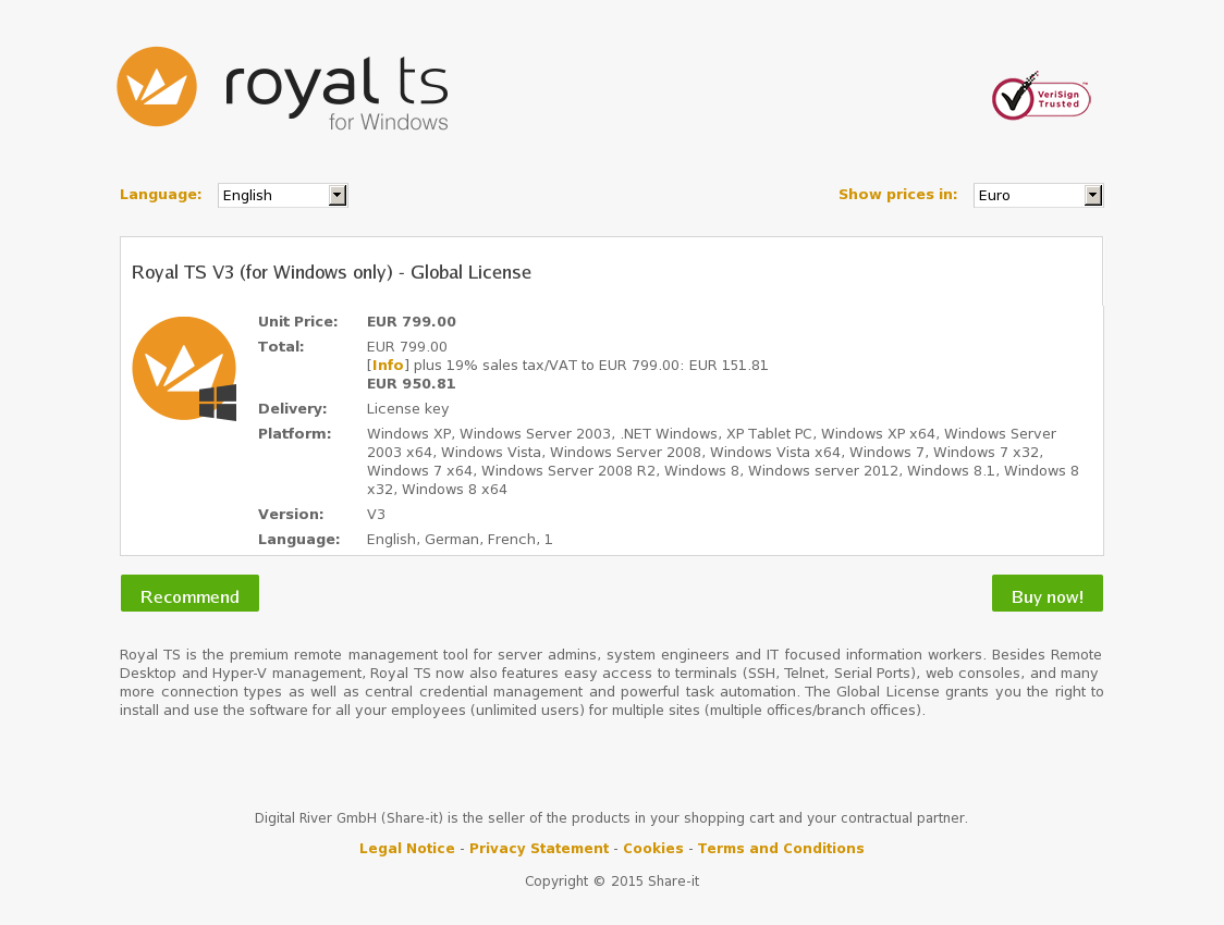 Royal TS V3 (for Windows only) - Global License